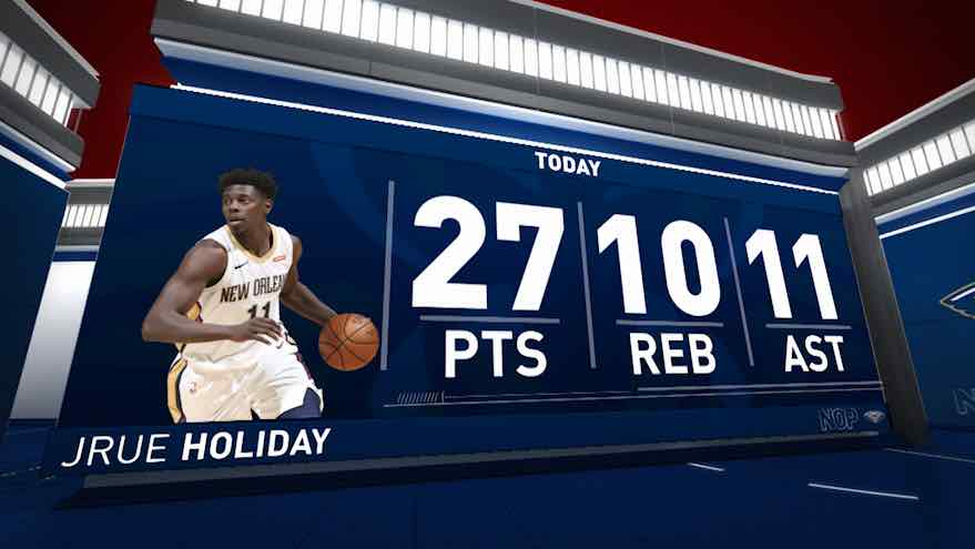 Holiday posts 27 points, 11 assists & 10 rebounds vs. Warriors