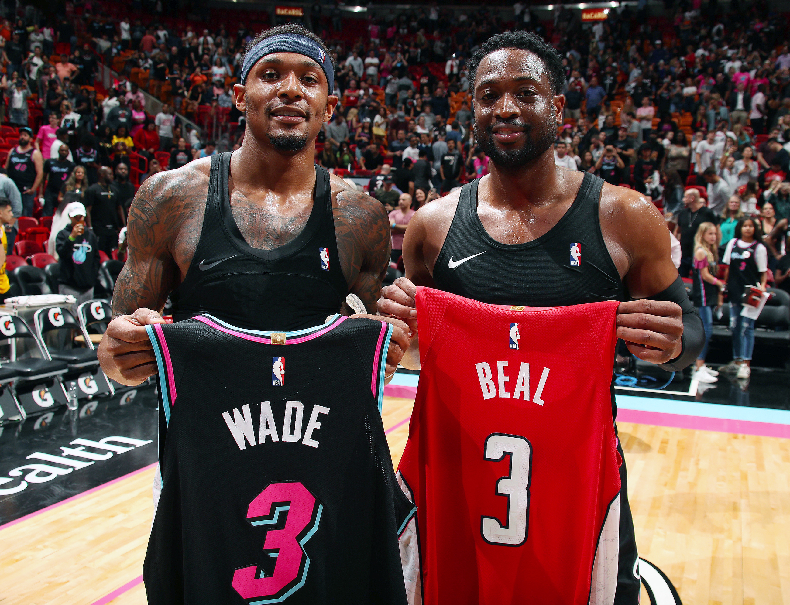 best sneakers bd3f2 28a2e Beal calls Wade his idol during jersey exchange | NBA.com
