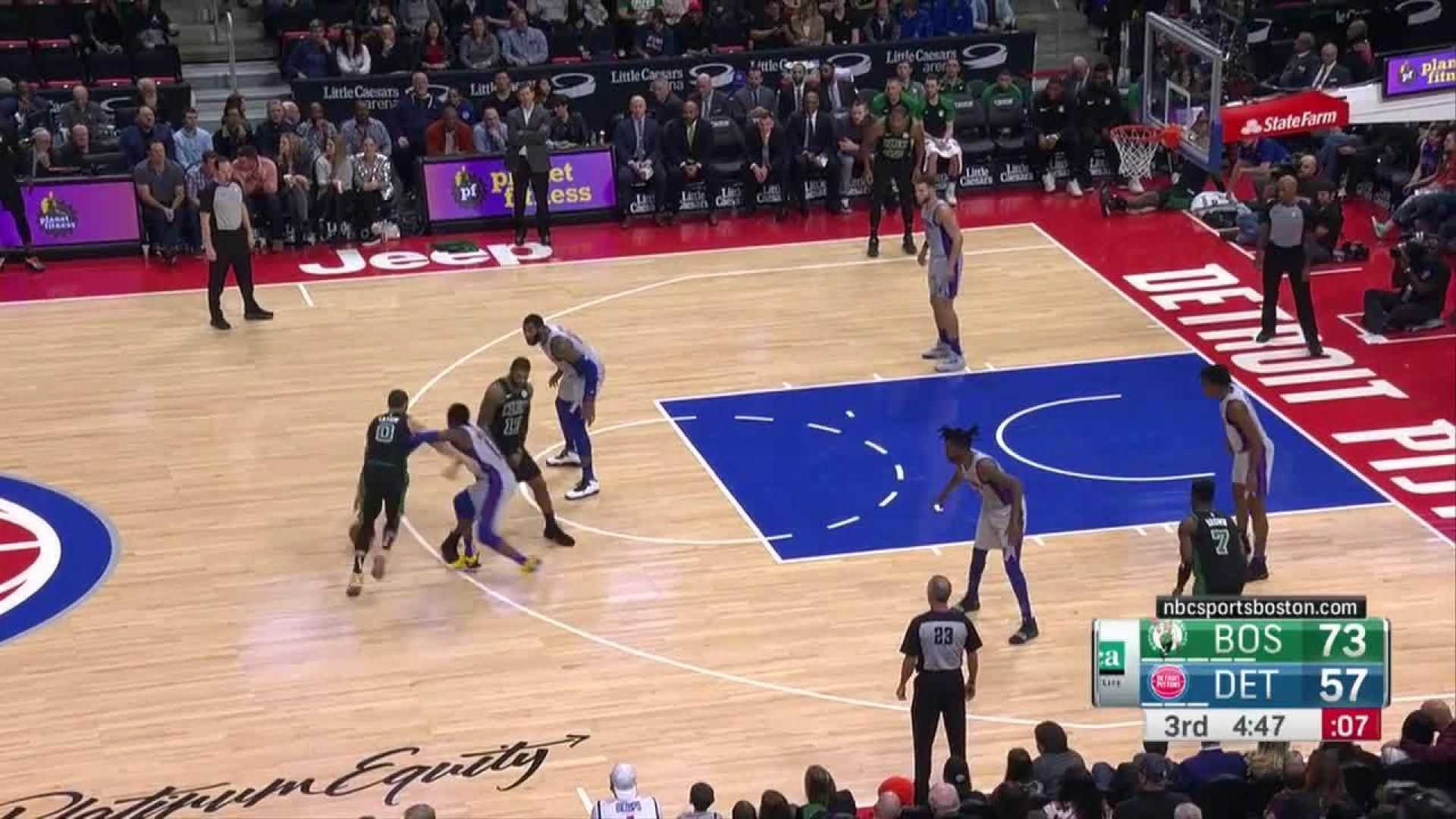 Jayson Tatum knocks it down as the clock expires in the