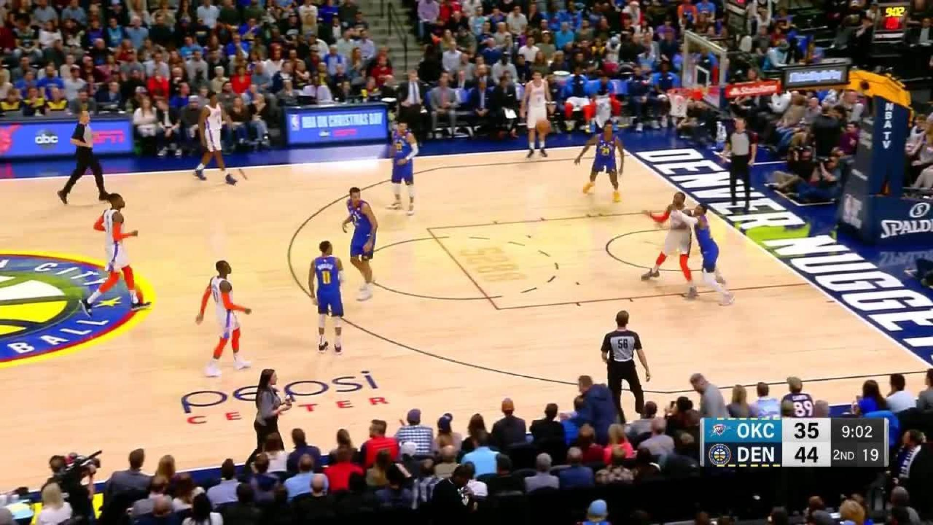 Nick Young drills his first three in his Nuggets debut in