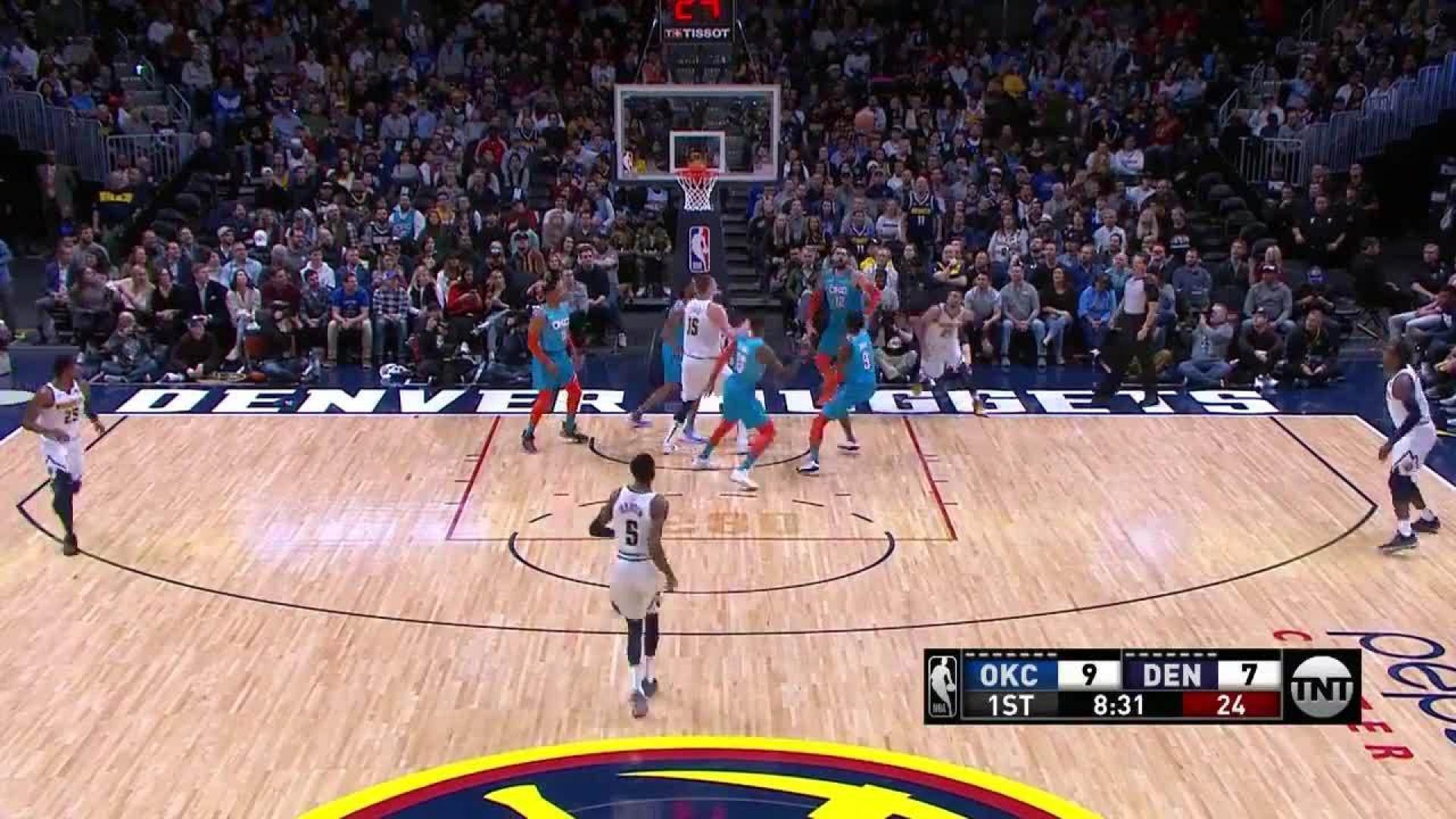d1e99bdfb Paul George reaches back to throw down the jam in the first quarter