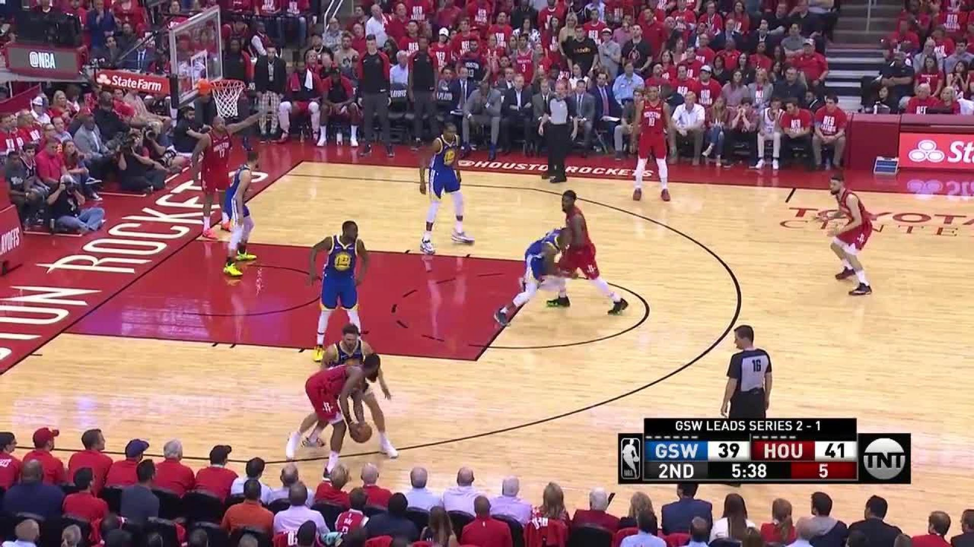 15876ed694f James Harden scores and draws the foul in the second quarter