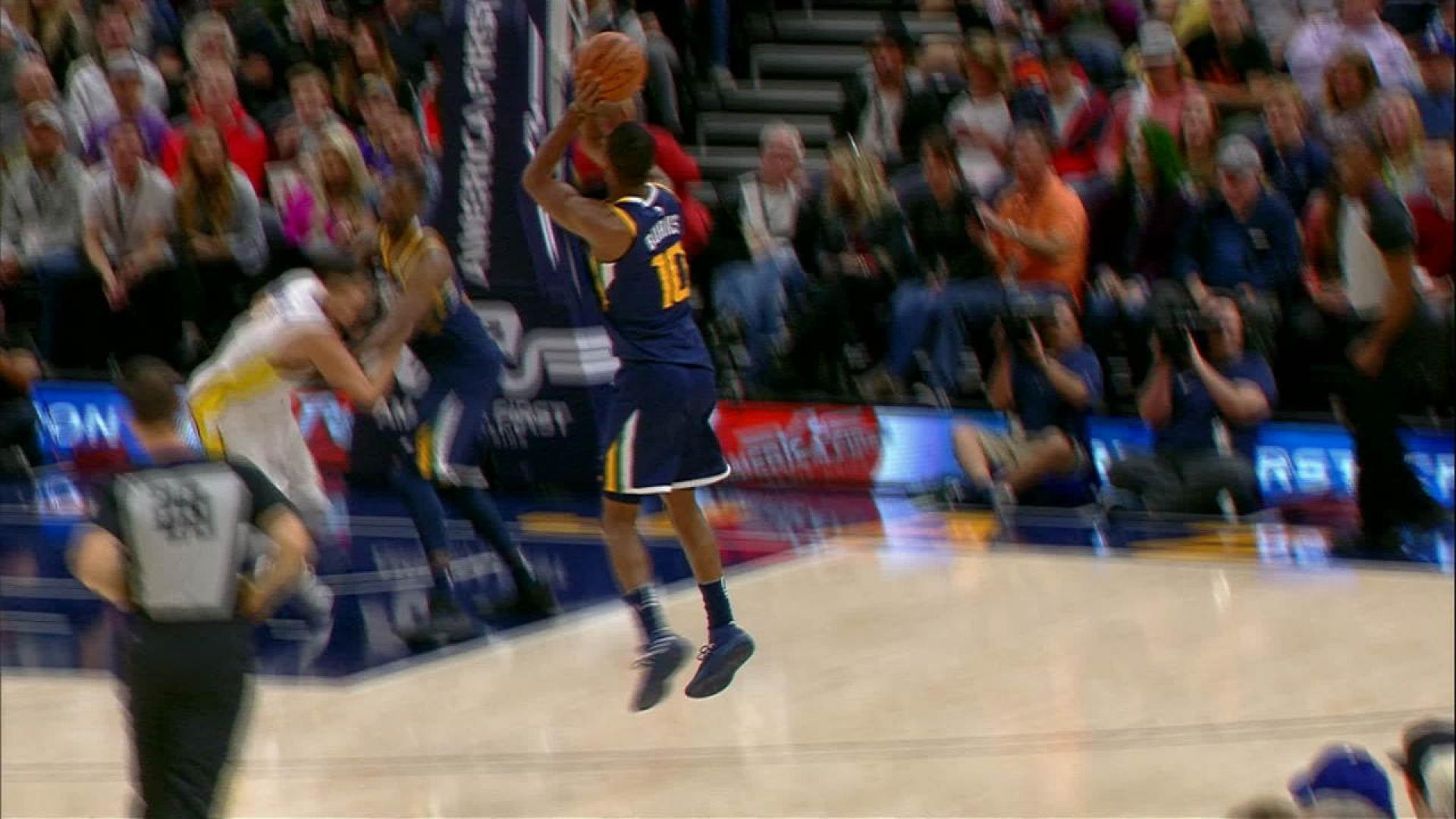 d535ecf8fab1 Utah Jazz rookie Donovan Mitchell soars over Los Angeles Lakers  Lonzo Ball  for epic putback slam