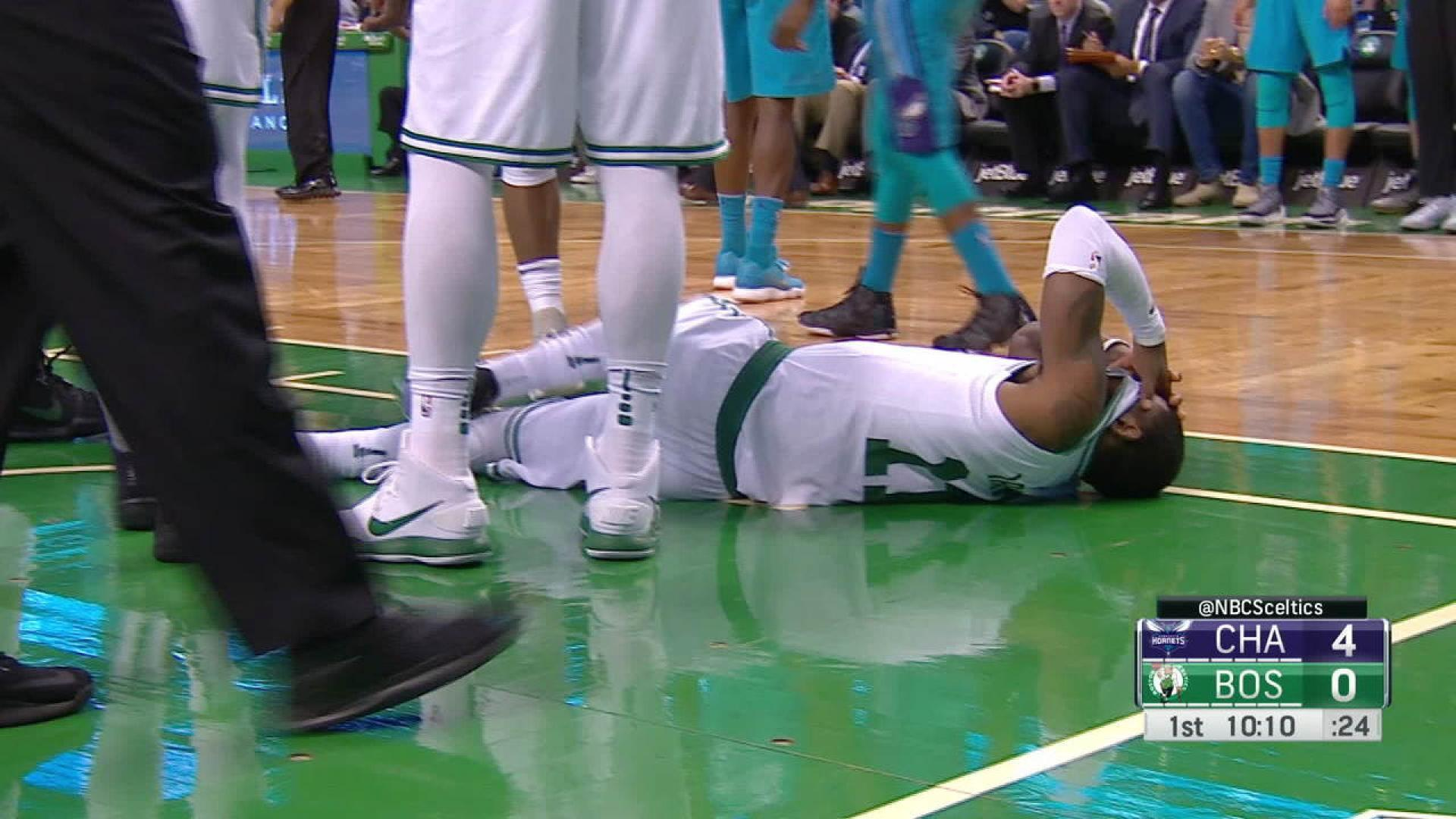 1:13Play     Kyrie Irving takes an inadvertent shot to the face by Aron Baynes and has to be helped to the locker room early in the first quarter