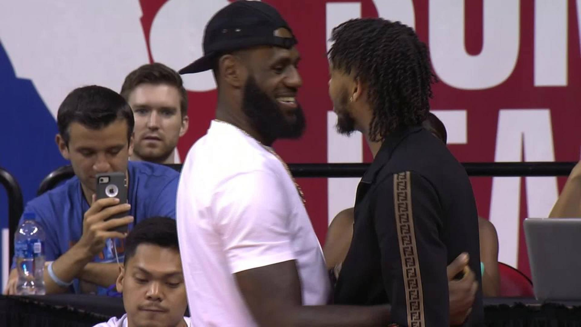 lebron james arrives to watch los angeles lakers at nba summer