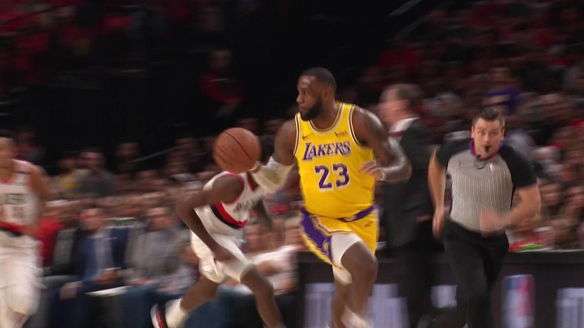 3f9c7ca02a73 LeBron Throws It Down For First Points With Lakers