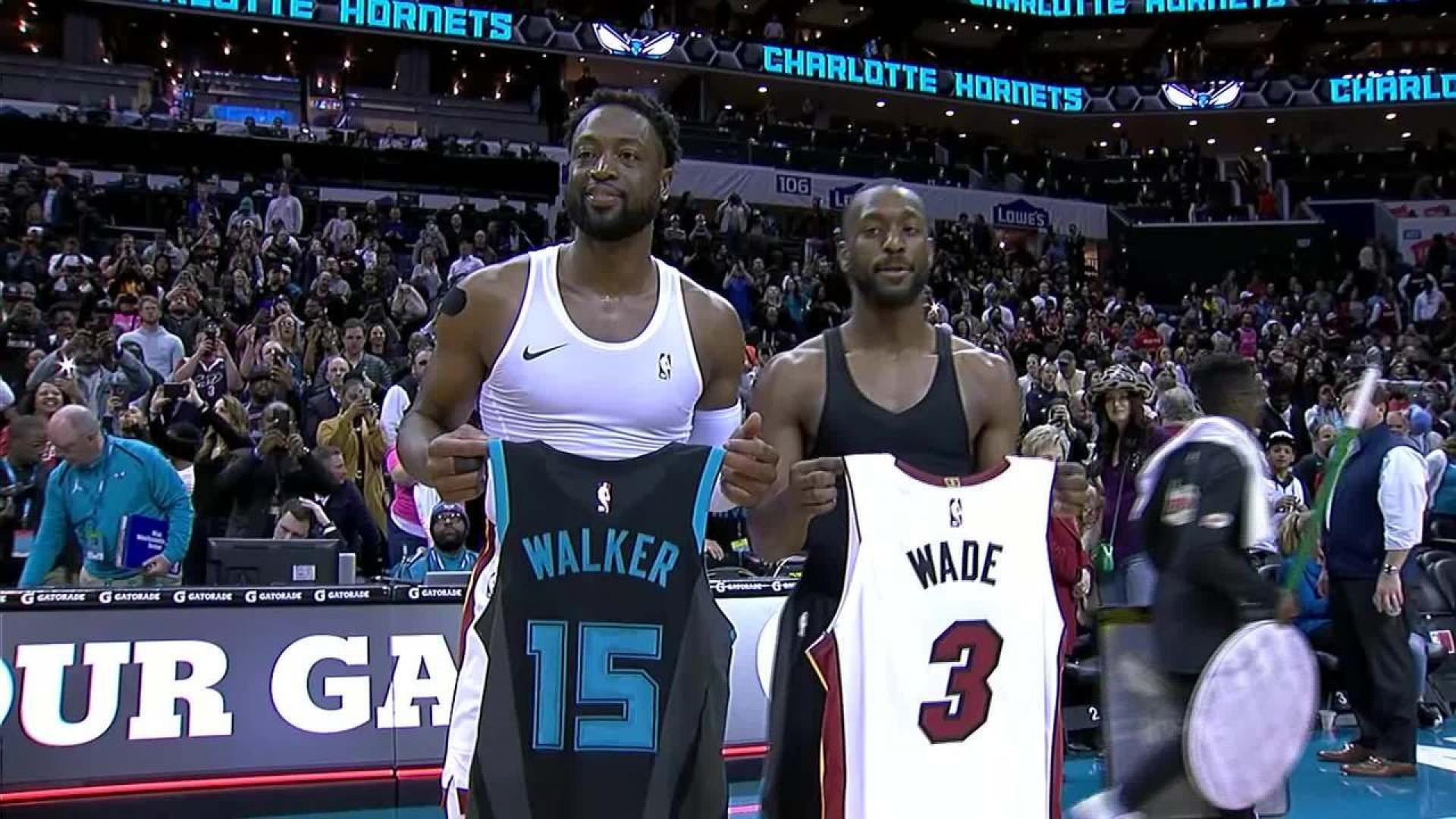 quality design d08ed c5a8a Dwyane Wade exchanges jersey with Kemba Walker | NBA.com