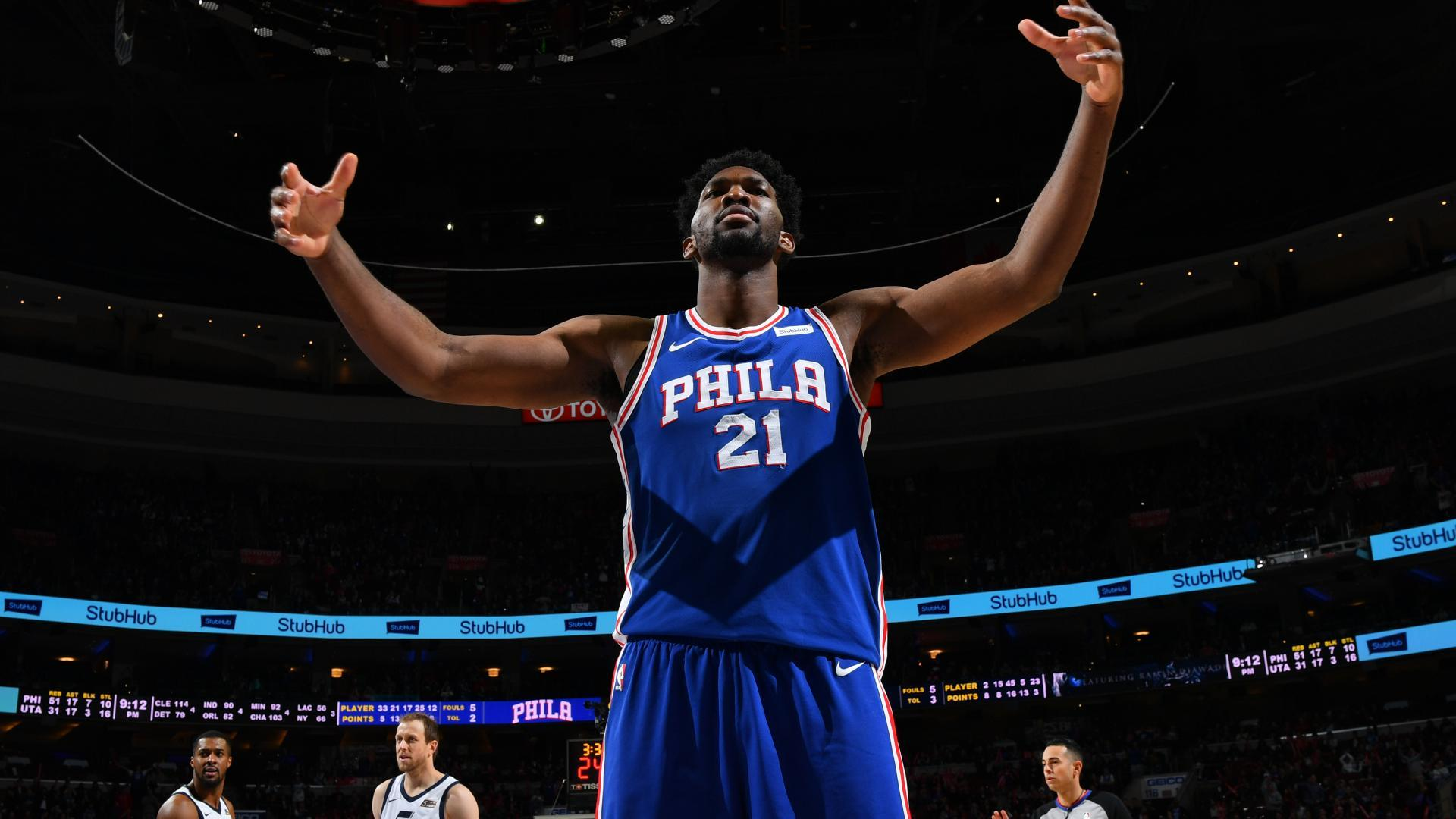 31d309d841f2 Philadelphia 76ers center Joel Embiid is selected as a starter in his first  All-Star Game.