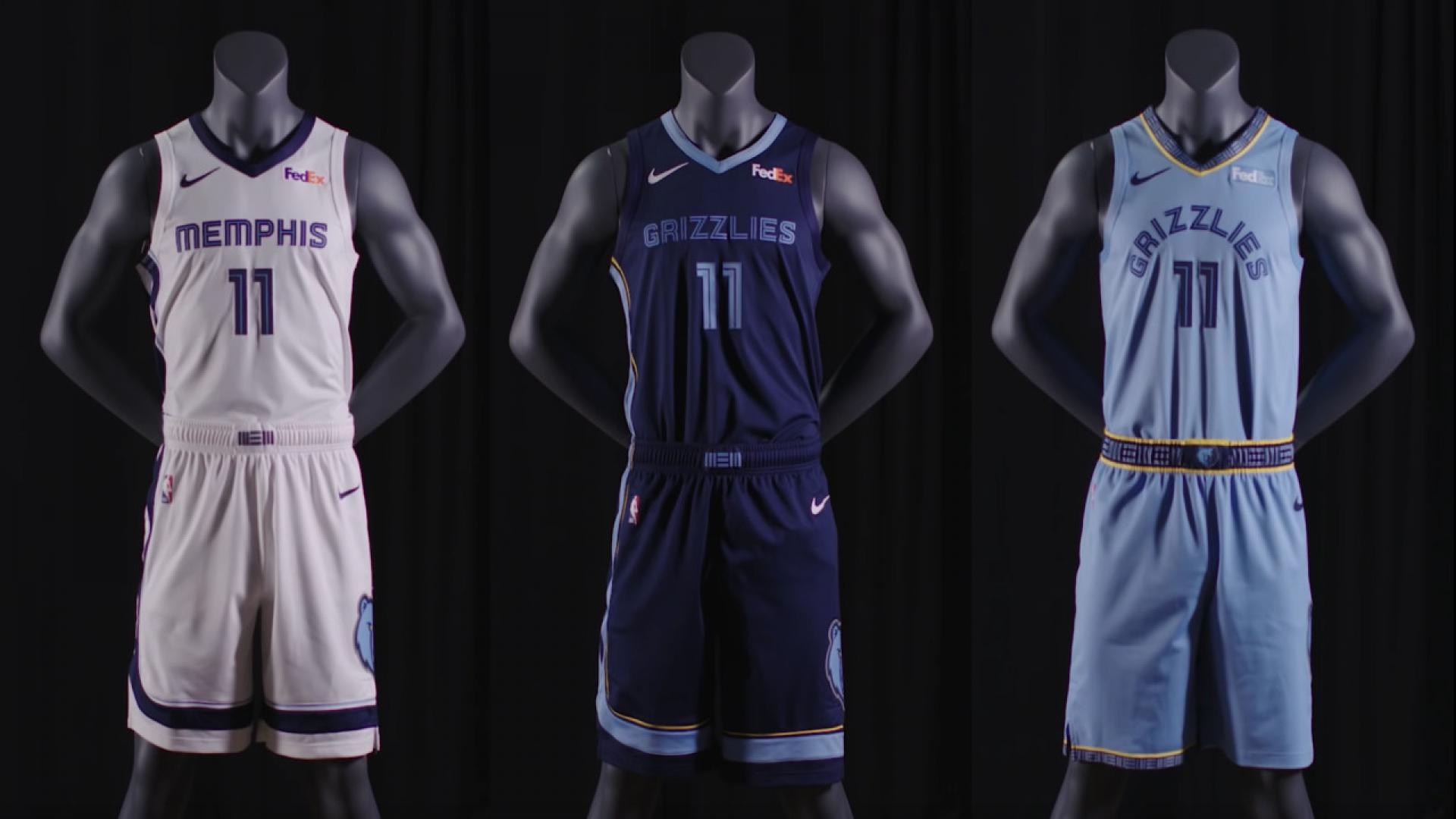 sale retailer 0c2aa 3e9ac Memphis Grizzlies unveil new uniforms with FedEx as jersey ...