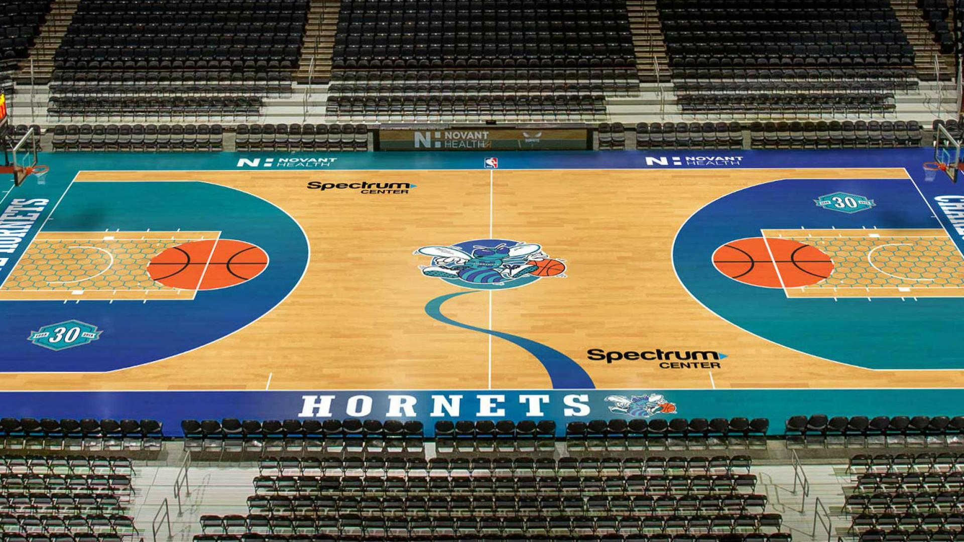 97931af5c7f2 The Hornets will throw it back to their old style with this retro court.