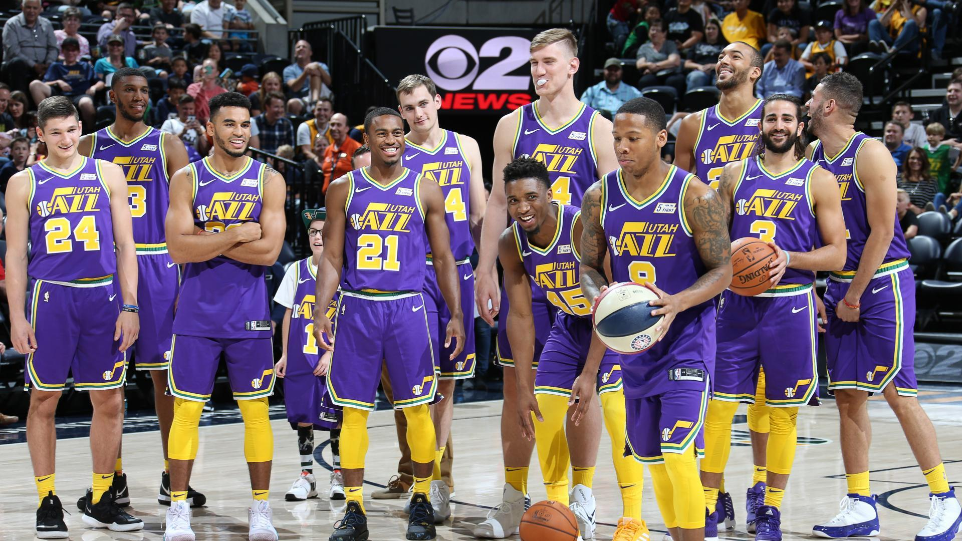 The Jazz show off their Classic Edition uniforms for the 2018-19 season. c23895959