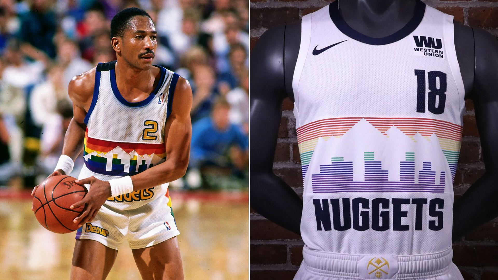Denver opted to throw back to the uniforms the team wore from 1981-82 to  1992-93 7dbe6cfd6