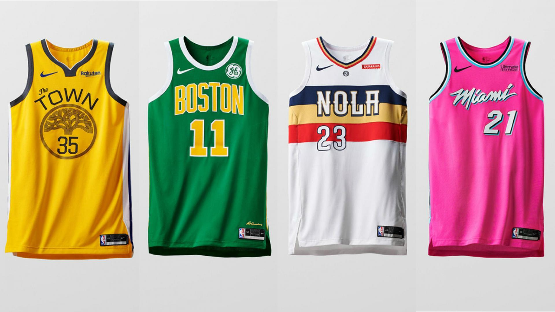 9e26ba0a03e Earned Edition uniforms for Golden State, Boston, New Orleans and Miami.