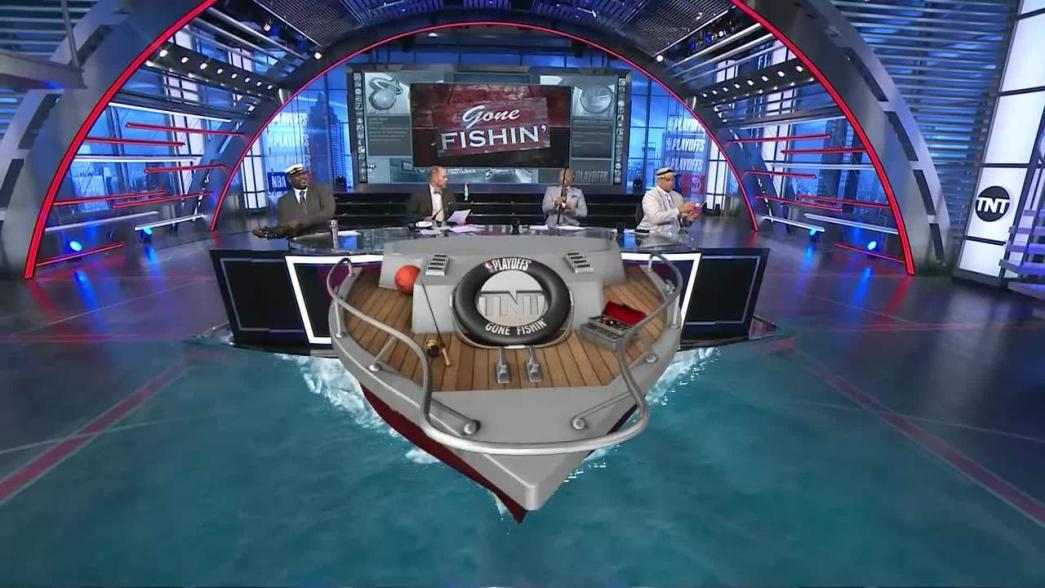 Image result for New NBA Gone Fishing Boat on tnt set