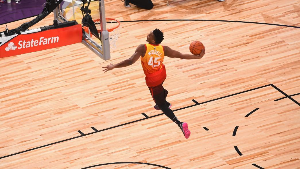 Donovan Mitchell tops Larry Nance Jr. for Verizon Slam Dunk title ... 39fee5a64
