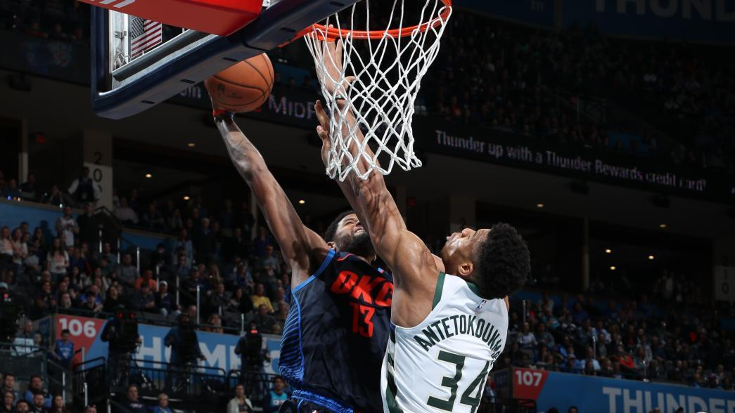 Must See Paul George Crushes Crucial Dunk Over Giannis