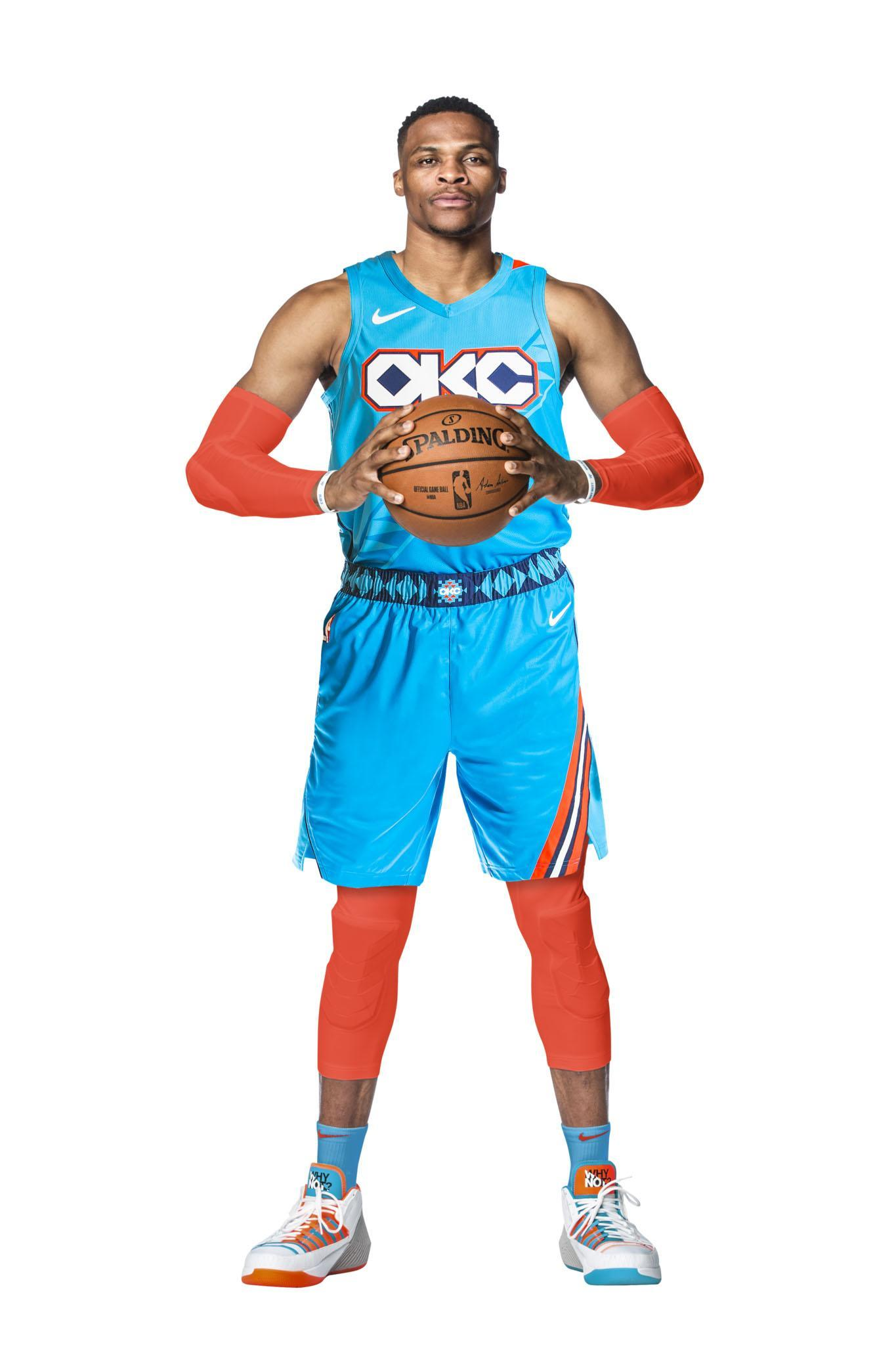 Russell Westbrook shows off the new City Edition uniforms the Thunder will  wear. 249bac0e2