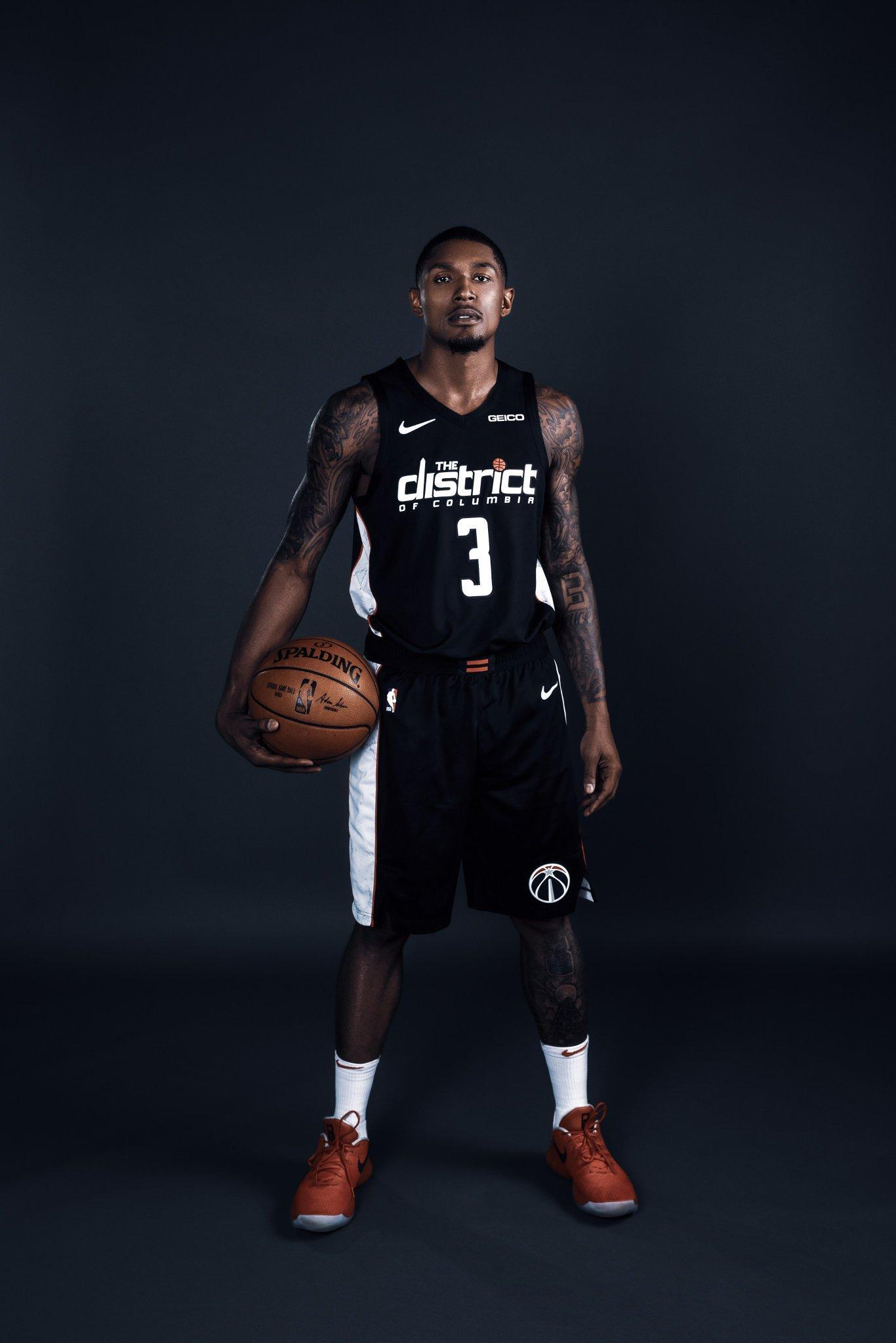 5b5ef7d5596 Bradley Beal models the City Edition uniforms the Wizards will sport this  season.