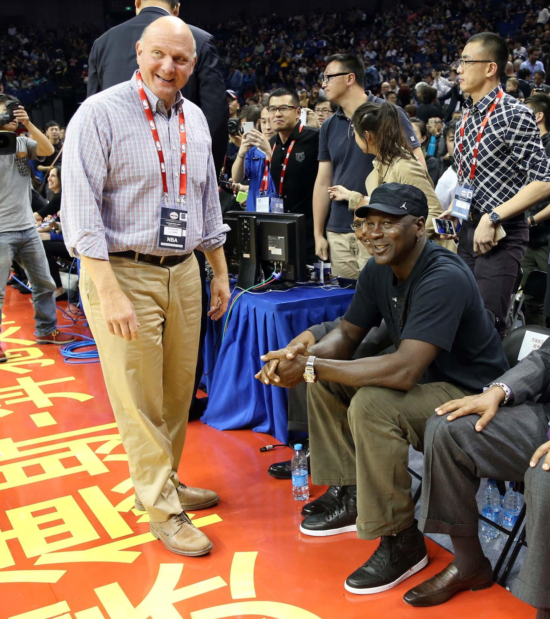 a046a8f3185f Jordan shares a moment with Clippers owner Steve Ballmer at the 2015 NBA  Global Games in China.