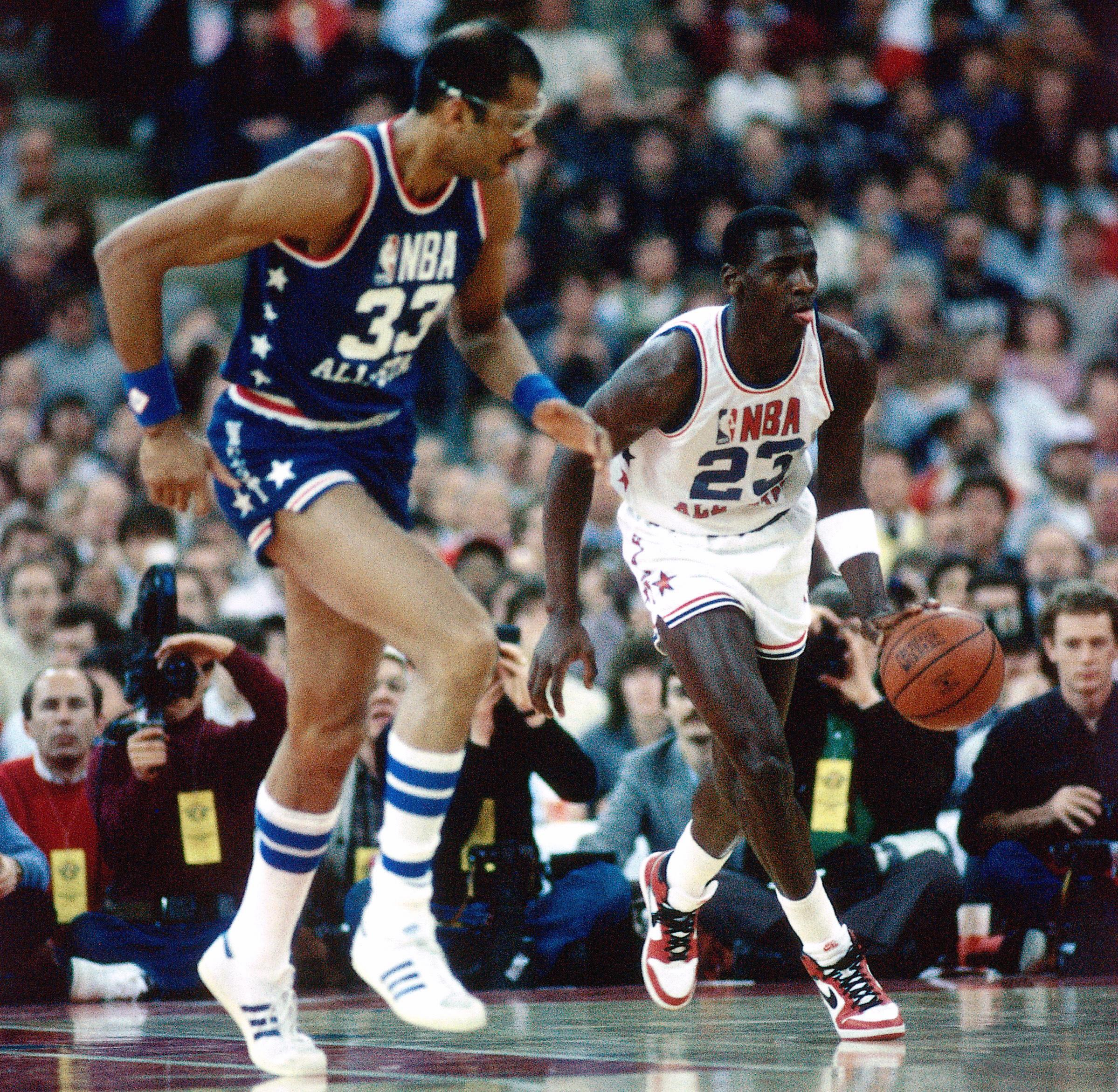 Michael Jordan finished with seven points in his All-Star Game debut. 0c07e7eb0